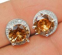 SALE! 2CT Padparadscha Sapphire & Topaz 925 Sterling Silver Earrings Jewelry, V2