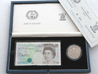 1990 Deluxe £5 Five Pound Silver Proof Coin £5 Five Pound Banknote Set Box Coa