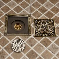 Antique Brass Square Flower Carved Floor Embedded Shower Waste Floor Drain Cover
