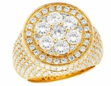 Men's 14K Yellow Gold Genuine Diamond Round 3D Cluster Pinky Ring 6 1/2 CT 20MM