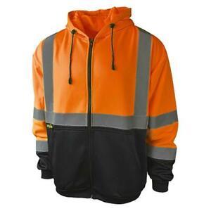 Radians Class 3 Zip Up Reflective Safety Hooded Sweatshirt Hi-Vis Orange Medium