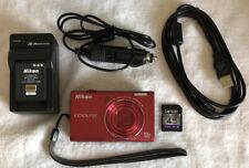 Nikon COOLPIX S6300 16.0MP Digital Camera Red~~Nr Mint~~4 GB Card~~Bundle~~
