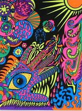 Vintage Blacklight Poster Psychedelic Monster Hand Eye Fish Eyeballs Pin-up 70's