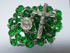 """† HTF HUGE VINTAGE CREED STERLING CAPPED GREEN HEAVY ROSARY NECKLACE 32 1/2""""  †"""
