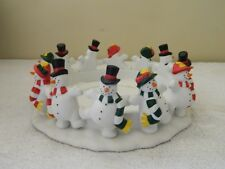 Partylite Frolicking Frostys 3 Wick Candle Holder Snowmen Christmas P-7436