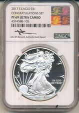 2017 SILVER EAGLE S$1 CONGRATULATIONS SET NGC PF 69 ULTRA CAMEO MERCANTI SIGNED
