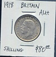 GREAT BRITAIN - FANTASTIC HISTORICAL GEORGE V SILVER SHILLING, 1918, KM# 816