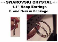 "Silver Swarovski crystal 1.5"" round hoop rhinestone earrings brand new"