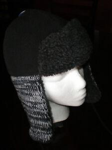 (One Size)NWT Polar Extreme Kids Unisex Black/Gray Ear Flaps Fleece Winter Hat
