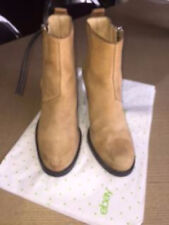 Pre-owned ACNE Beige Suede Leather Pistol Boots SZ 38