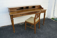 French Curved Vintage Writing Computer Desk by Drexel with Chair 1189