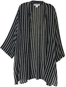 CAROLINE ROSE Black Bone White Imperial Collar Stripe OVERSIZE & LONG Jacket 2X