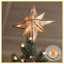 CHRISTMAS TREE STAR TOPPER Lighted Capiz Bethlehem Holiday Xmas Ornament Decor