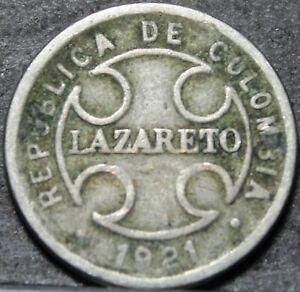 Colombia 2 Centavos, 1921 Lazareto Leprosy Colony Leprosarium~RARE 350k Minted~