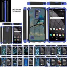 For LG Stylus 2 Plus / Stylo 2 Plus Case Dual Layer Stand Defender Blue Cover