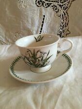 New w/Tags Portmeirion Botanic Garden Snowdrop Flower Tea/Coffee Cup & Saucer