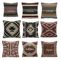 "Wool Jute Cushions Kilim Throw Pillow Case Soft Kilim Beautiful 18"" Pillow Cover"