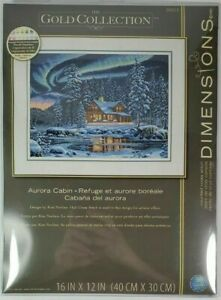 Dimension Gold Collection AURORA CABIN Counted Cross Stitch Kit Full Size  New