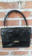 Vtg handbag Purse Ailligator Leather black Kelly Bag look