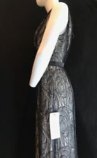 BNWT ADRIANNA PAPELL Sleeveless Black & Nude V Neck Full Length Dress UK 16