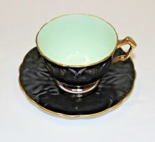 Aynsley Cup & Saucer England Bone China Black & Pastel Green