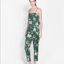 Zara Green Flora Romper/Jumpsuit Dress Size M New