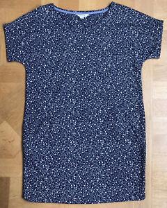 New White Stuff 8 UK Fine Knitwear Dress Navy Blue With Tiny Pattern