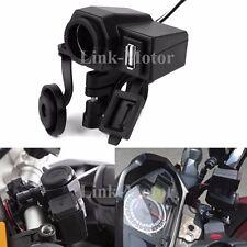 Black 5V 2.1A USB Phone 12V Motorcycle Handlebar Clamp Charger Power Port Socket