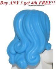 ☀️NEW Lego Minifig Hair Female Girl Hot Bright Blue Azure Long Wavy w/ Side Part