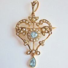 Antique Victorian Art Nouveau 9ct Gold Aquamarine & Pearl Pendant Necklace c1895