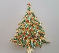 Gold Tone Christmas Tree Pin/Brooch Has Red And Green Colors