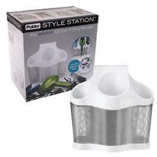 Polder Style Station 3 Storage Hair Straightener Dryer Caddy Organizer White