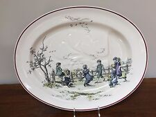 "Brownfield & Sons PASTIMES KATE GREENAWAY 20"" Meat Platter Transferware ca. 1884"
