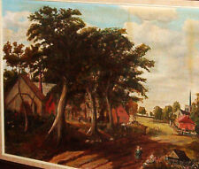 "AMISH FOLK ART Painting Authentic AMERICAN Oil on Canvas 1957 Signed 43"" x 31"""