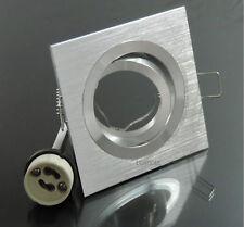 20x Einbaustrahler Rahmen Quadrat schwenkbar + Fassung GU10 alu gebürstet #7022