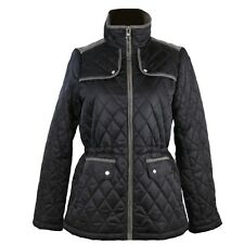 MSRP $220 Vince Camuto Women Ladies Jacket Quilted Coat Fall Black Gray Size M
