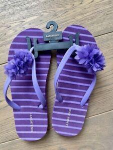 Lands' End Girl Floral Purple Flip Flops, Sandals - Size 6
