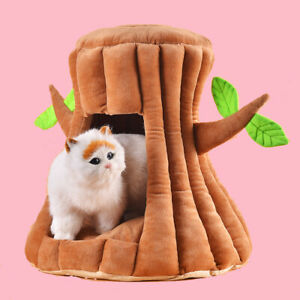 Cute Tree Stump Shaped Cat Nest Windproof Warm Cat House Nest S,M(M71)