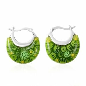Green Glass Basket Hoop Hoops Earrings Jewelry Mothers Day Gift For Women