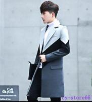 Winter Mens Korean Wool Blend Warm Slim Fit Mid Long Trench Coat Jacket Overcoat