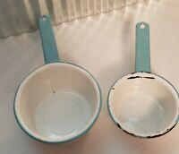 Vintage Robin's Egg Blue And White Enamelware Pans