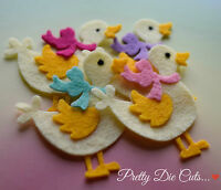 Felt Ducks with bows (pack of 4) Die Cut Craft Embellishments