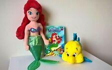 Disney / The Little Mermaid - Ariel & Flounder Plush / Soft Toys + Book Bundle