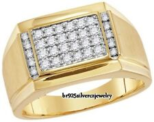 1.86 TDW MEN'S 14K WHITE GOLD FINISH DIAMOND ENGAGEMENT WEDDING PINKY MEN'S RING
