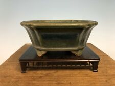 Unique Green Glaze Color Shohin Size Bonsai Tree Pot Gyouzan, Yukizou 5 7/8�