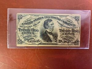 1863 25 Cents 25c  Fessenden Fractional Currency Note Nice Condition
