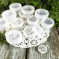 12 Plastic One Half ounce Cosmetic Craft Jars Clear Cap Container DecoJars 4302