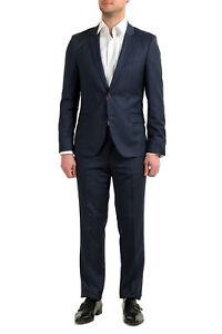 "Hugo Boss Men's ""Arti/Hesten182"" Extra Slim Fit 100% Wool Blue Two Button Suit"