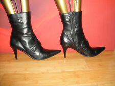 GEORGE COLLECTION BLACK LEATHER ANKLE  BOOTS  EU 41 *56*