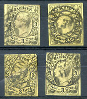 GERMANY SACHSEN Yvert # 6, 4 Stamps Different Cancels VF